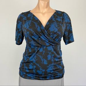 Lane Bryant Blue Floral Short Sleeve Surplice Top